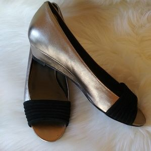 Cole Haan Peep- toe wedge heel shoes